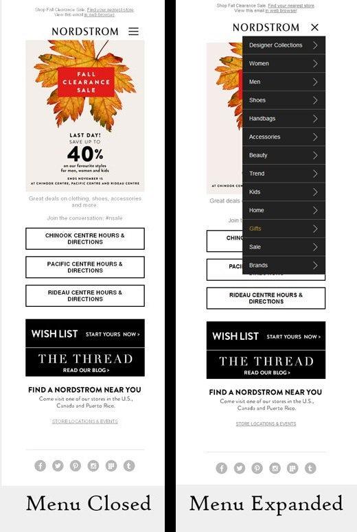 Nordstrom mobile menu
