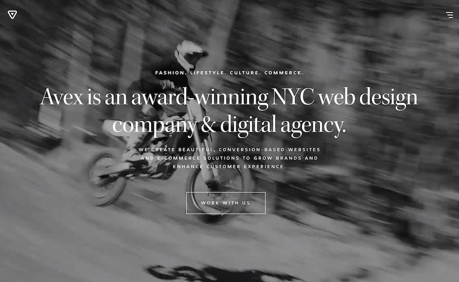 avex design website screenshot