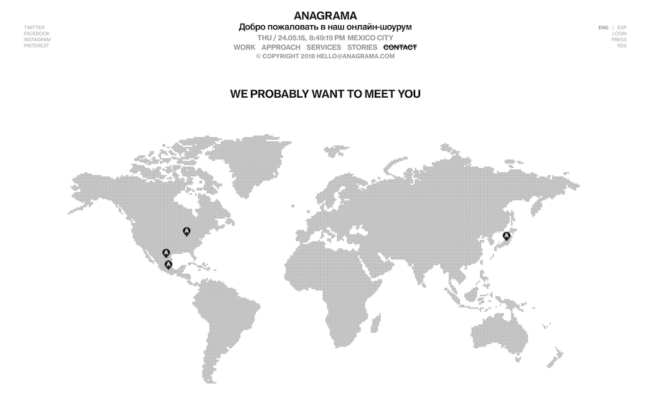 Anagrama contact page screenshot