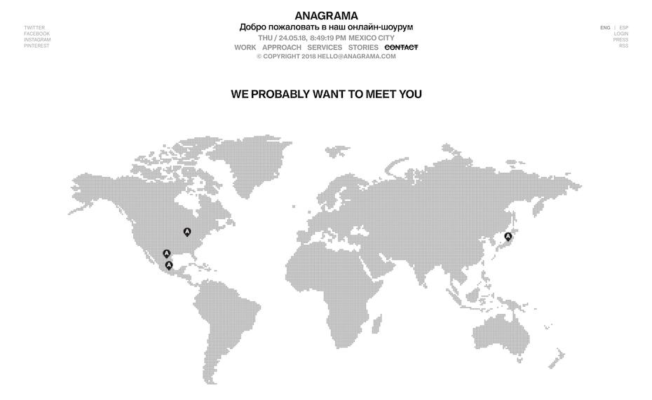 Anagrama contact page screenshot