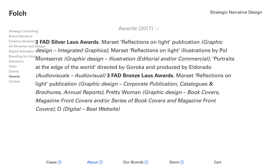 Folch awards page screenshot
