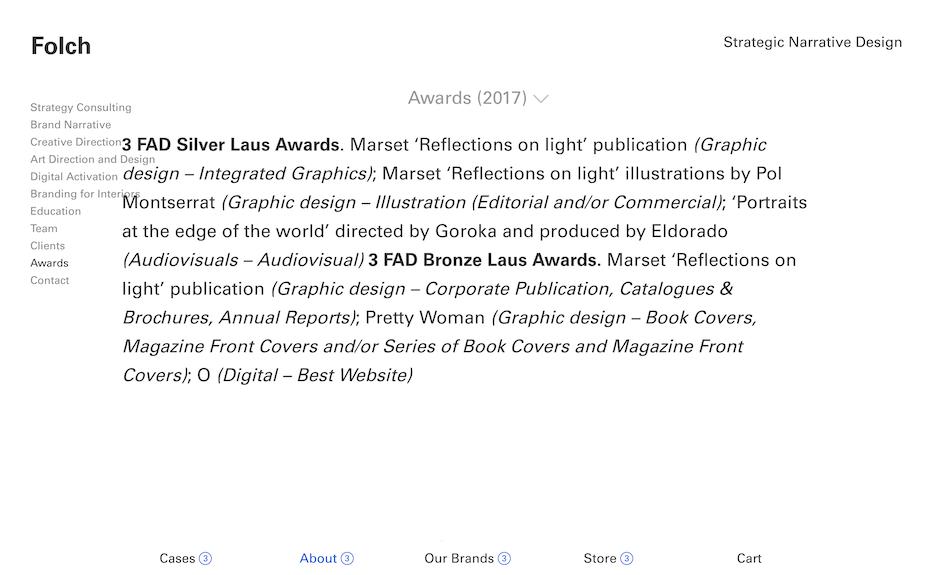 Folch awards page screenshot