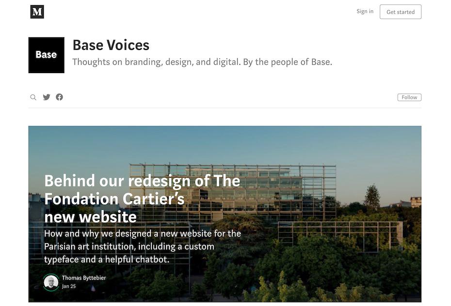 Base Design blog screenshot