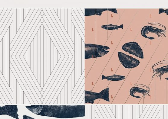 communicative pattern design with sea food illustrations
