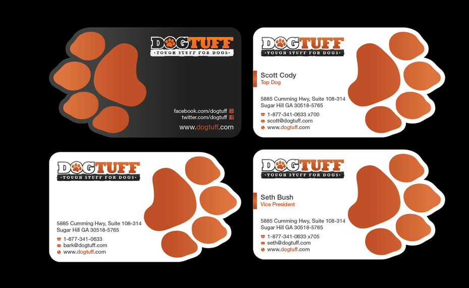 business card with dog paw