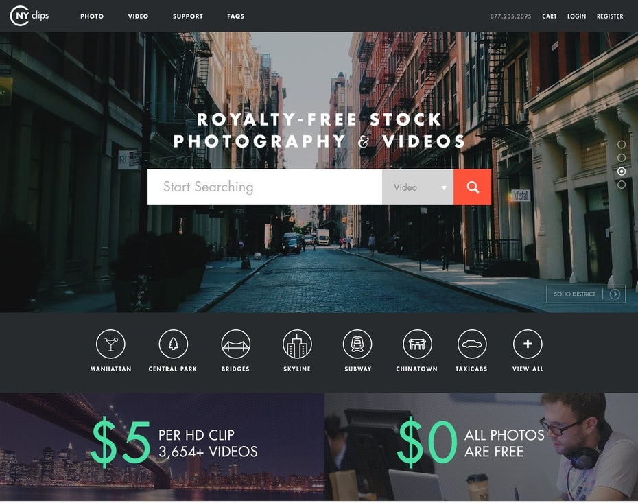 web design for stock photo website