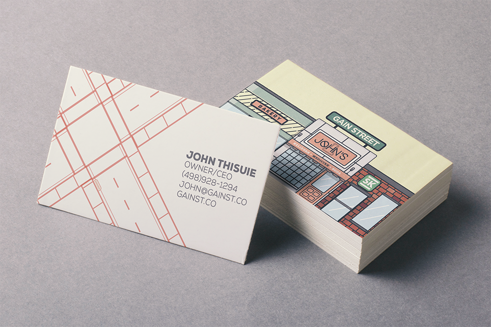 business card with graphics