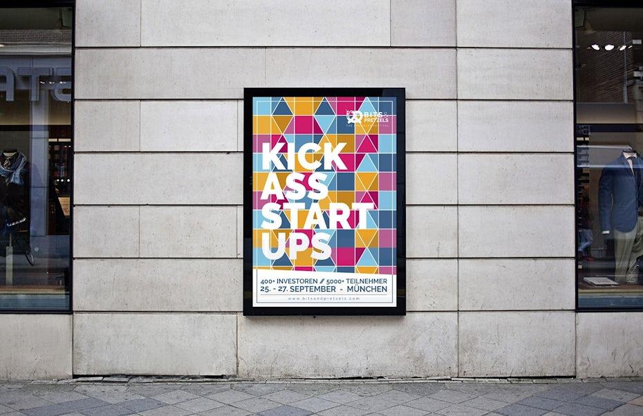 auffälliges kick ass startups poster als teil ihrer corporate identity