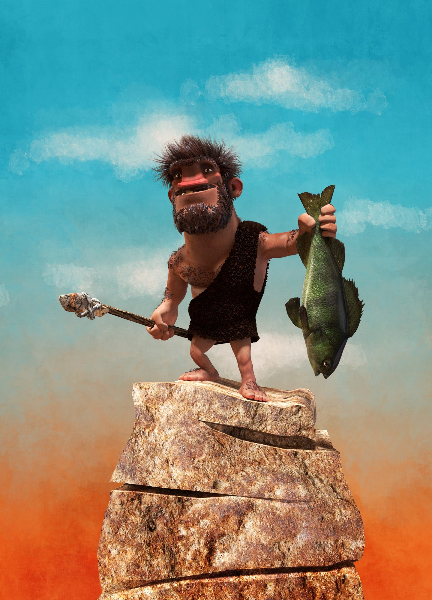A 3D model of a caveman fishing character