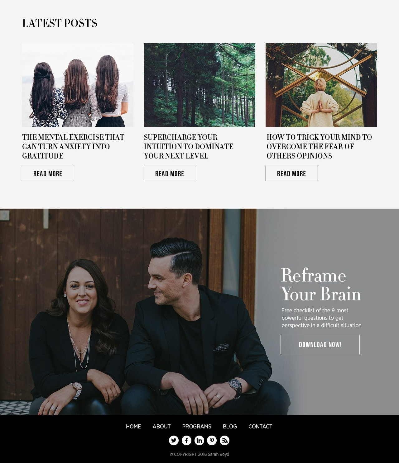 Blog design with serif font