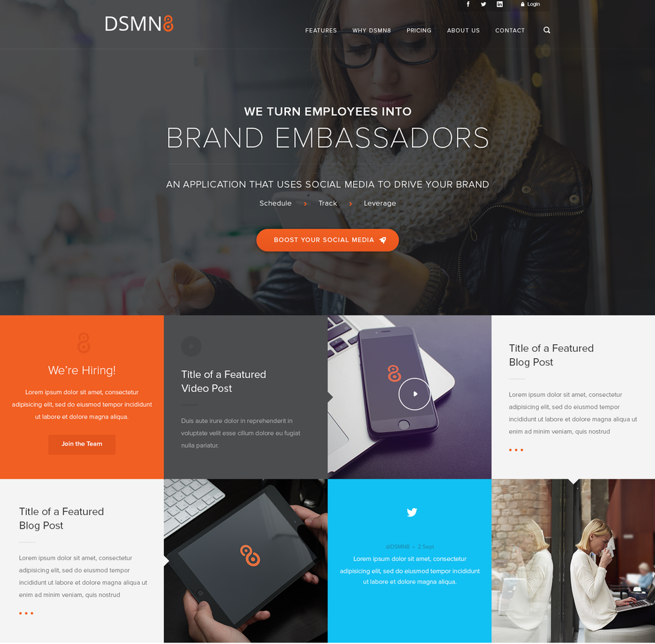 website mit kacheldesign