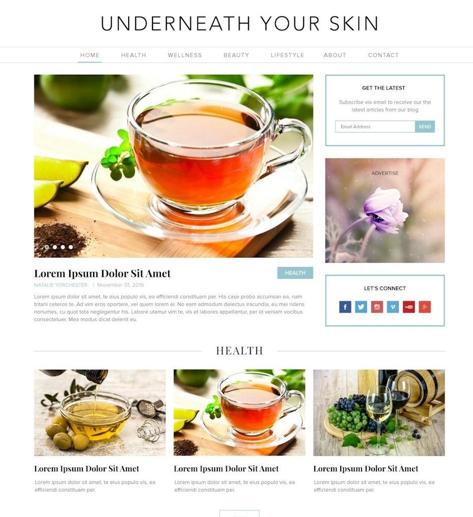 wellness blog design