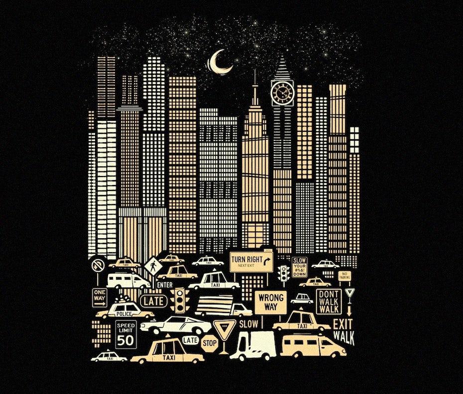 illustration einer stadt in der nacht