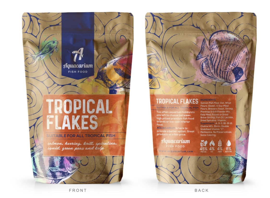 fish feed packaging with creative pattern