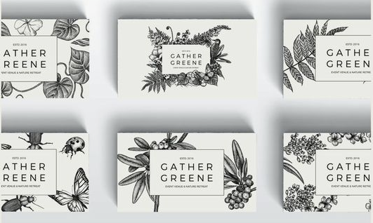 botanical pattern on business card