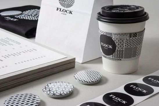 black and white geometric pattern for Flock Cafe