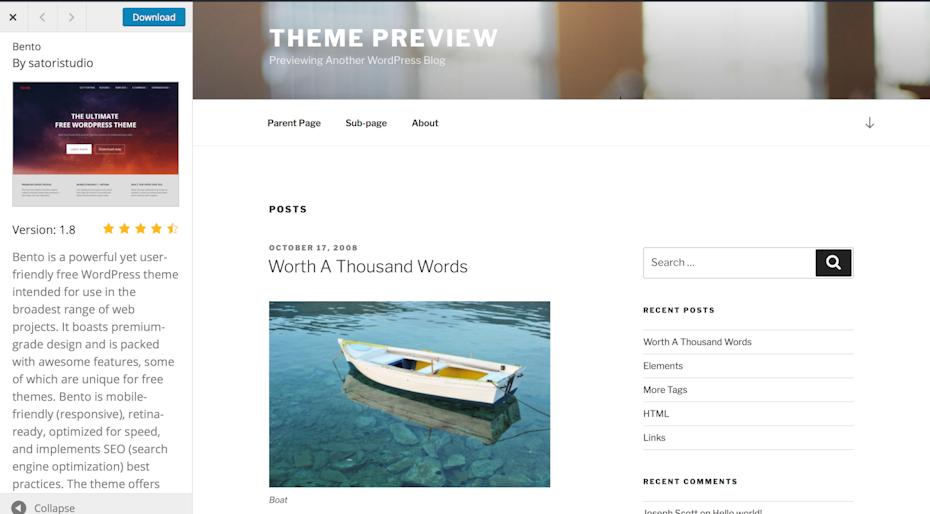 Bento WordPress theme