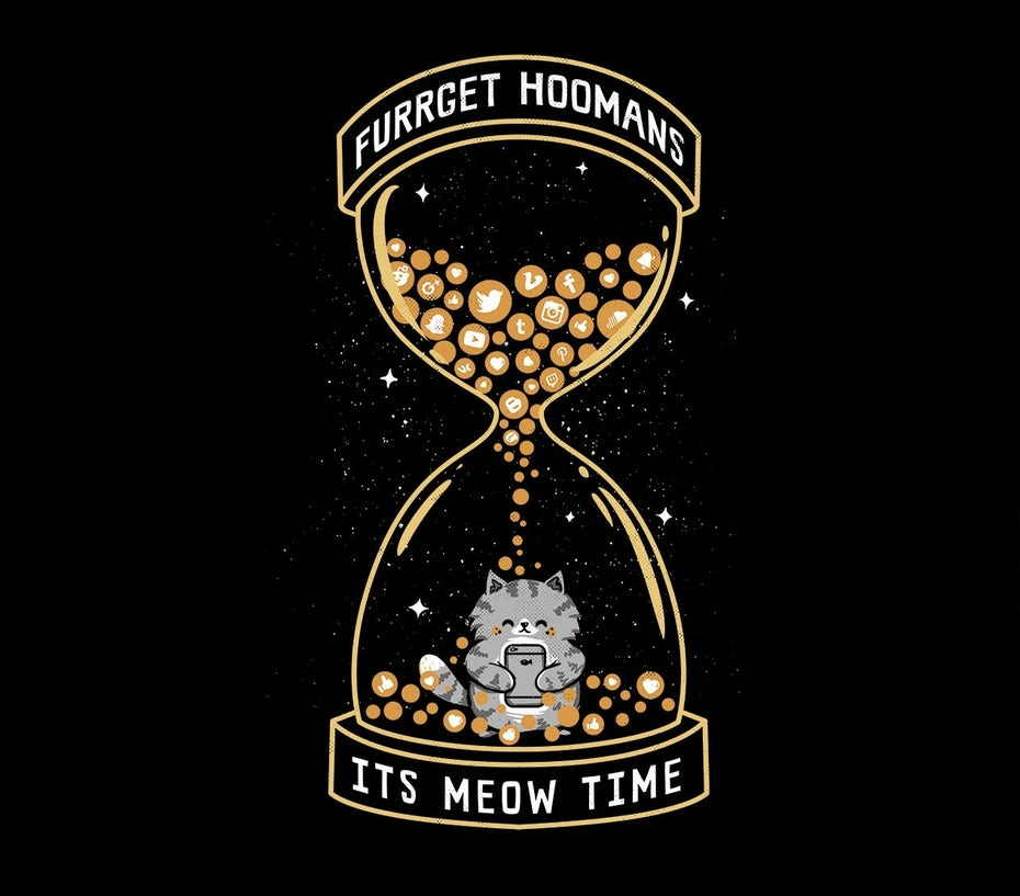 fun cat in an hourglass illustration