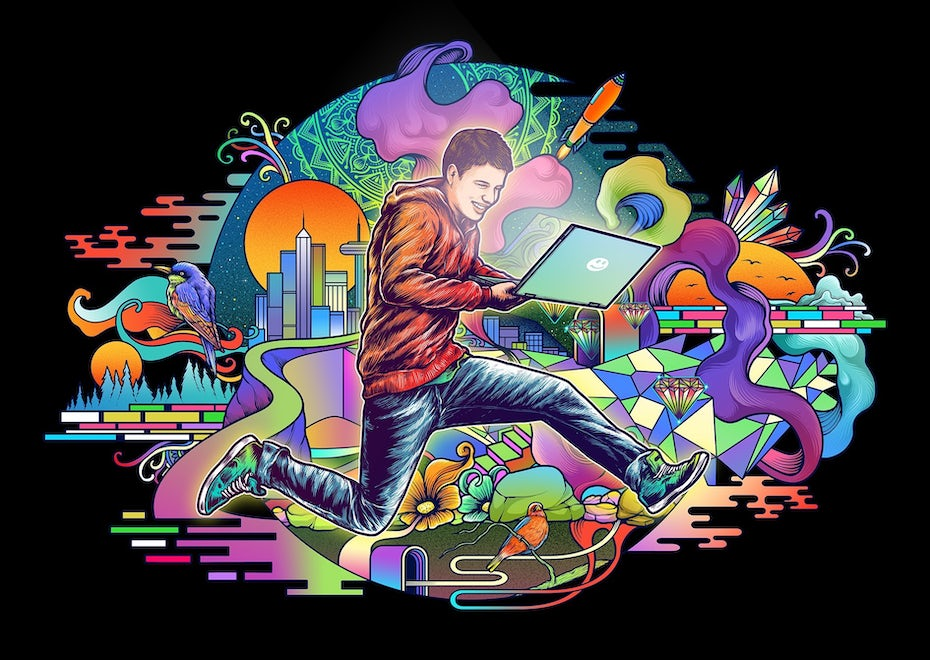 illustration of a guy with a laptop jumping