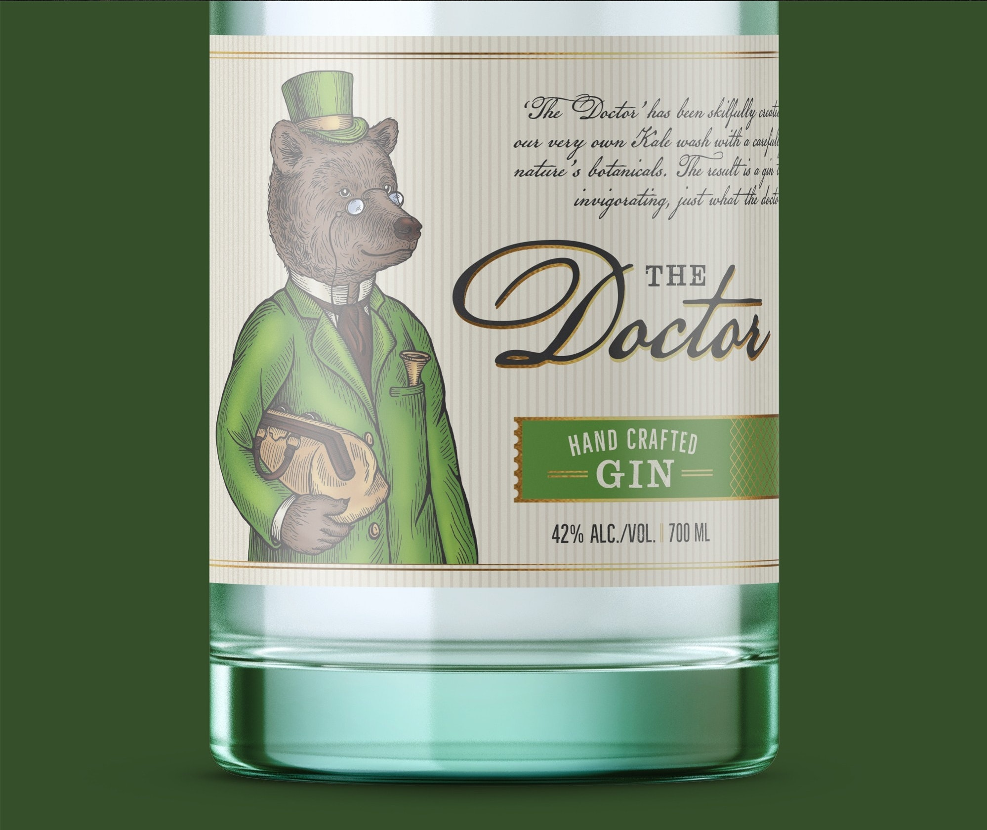 """Label and illustration for GIN """"The Doctor"""""""
