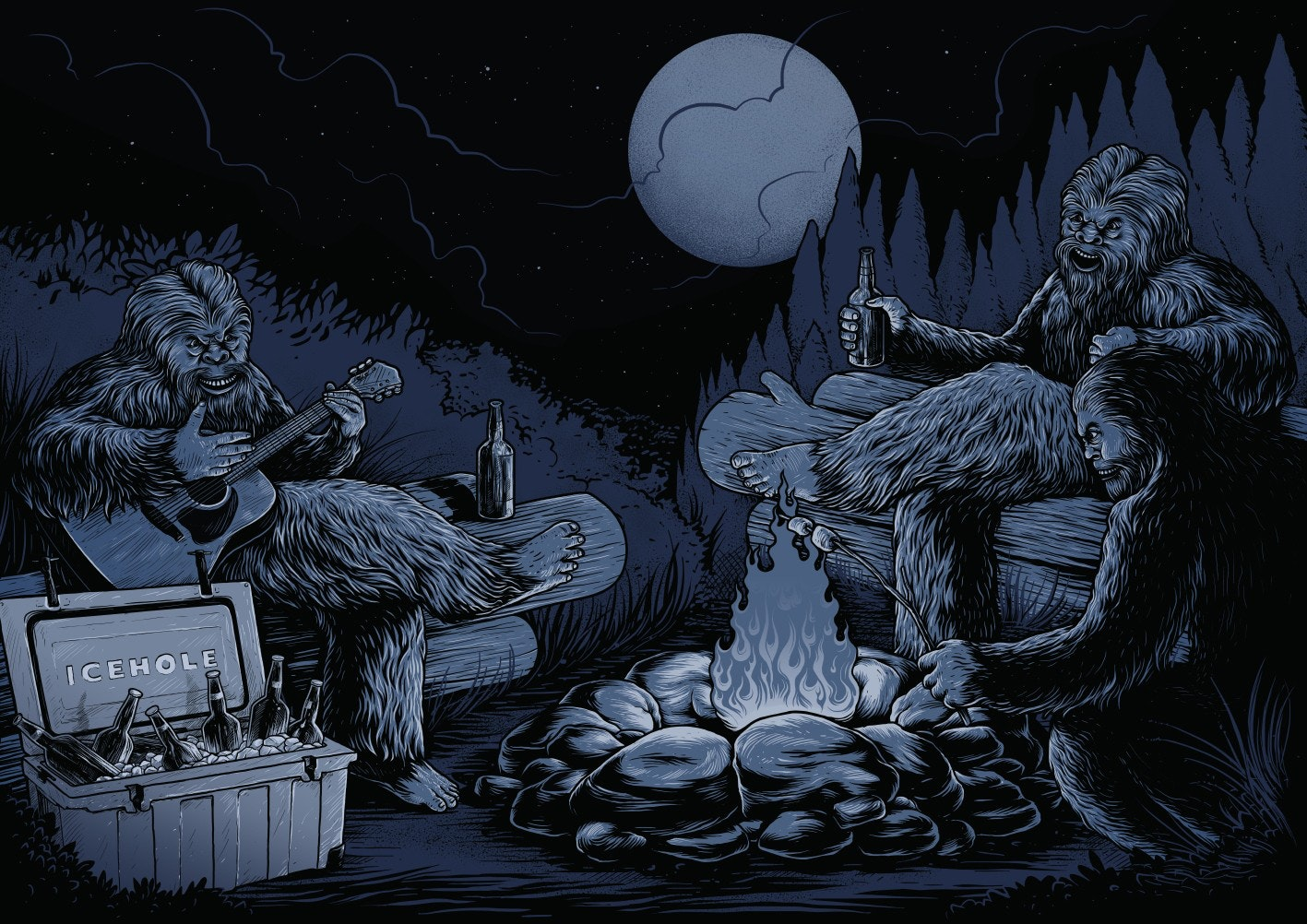yeti campfire illustration