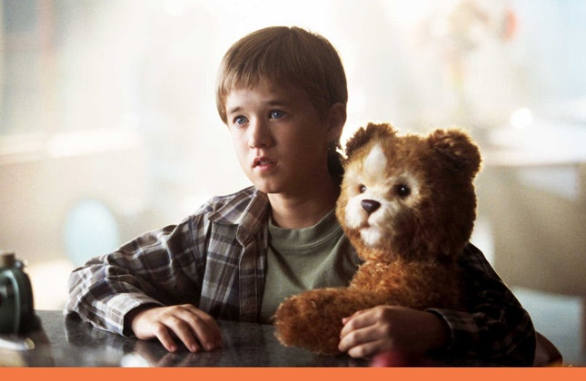 Haley Joel Osment cyborg and his bear companion in A.I.