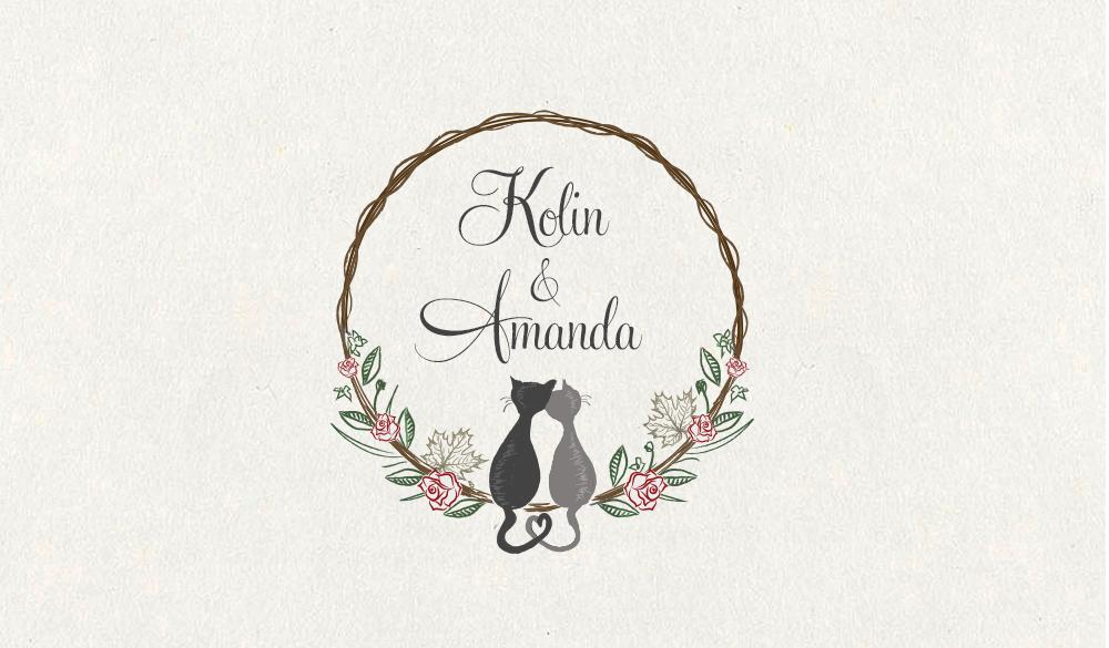 illustrated cat wedding logo