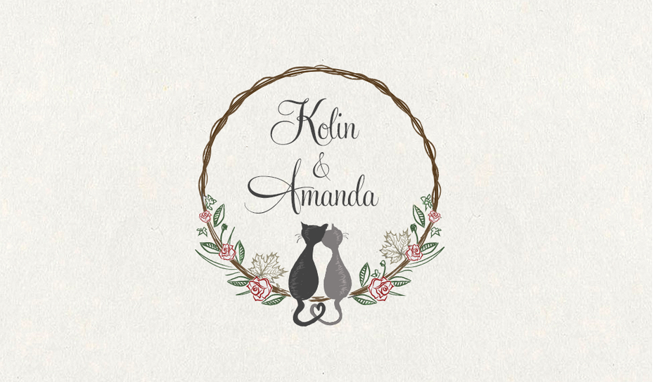 illustrated cat wedding logo