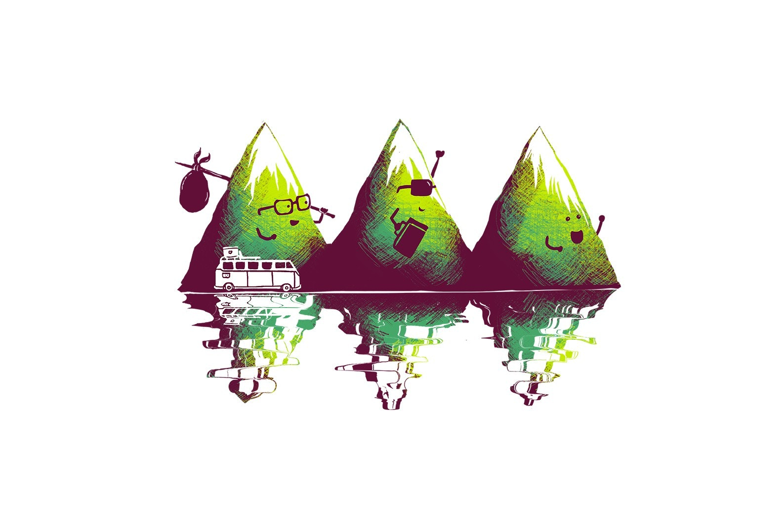 Travelling mountain illustration