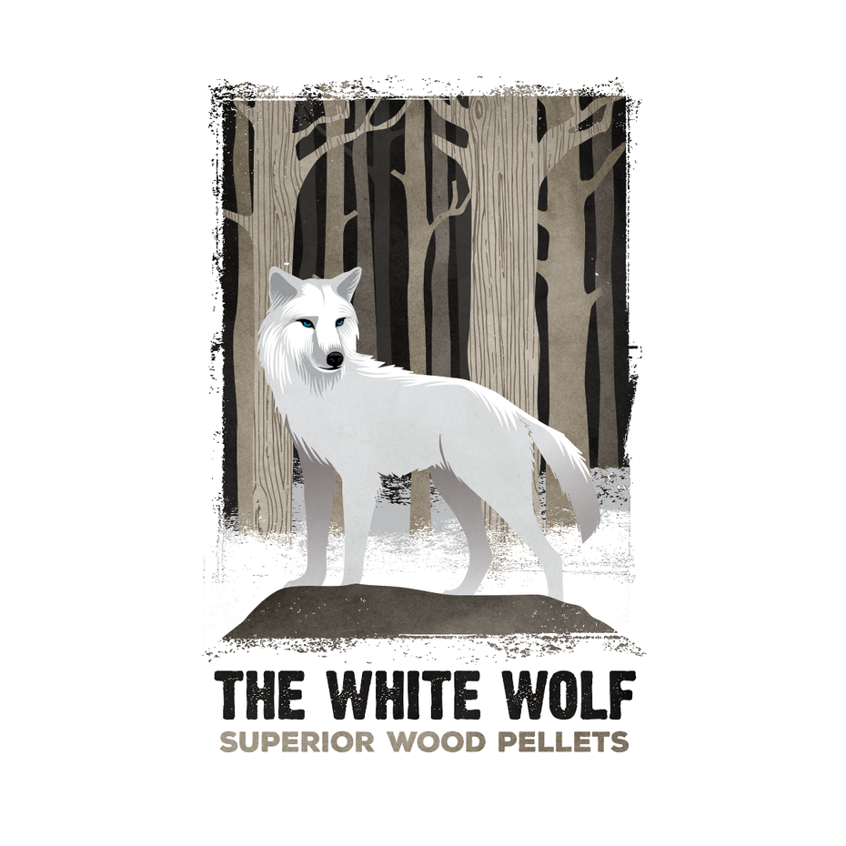 White wolf illustration for wood pellets bag