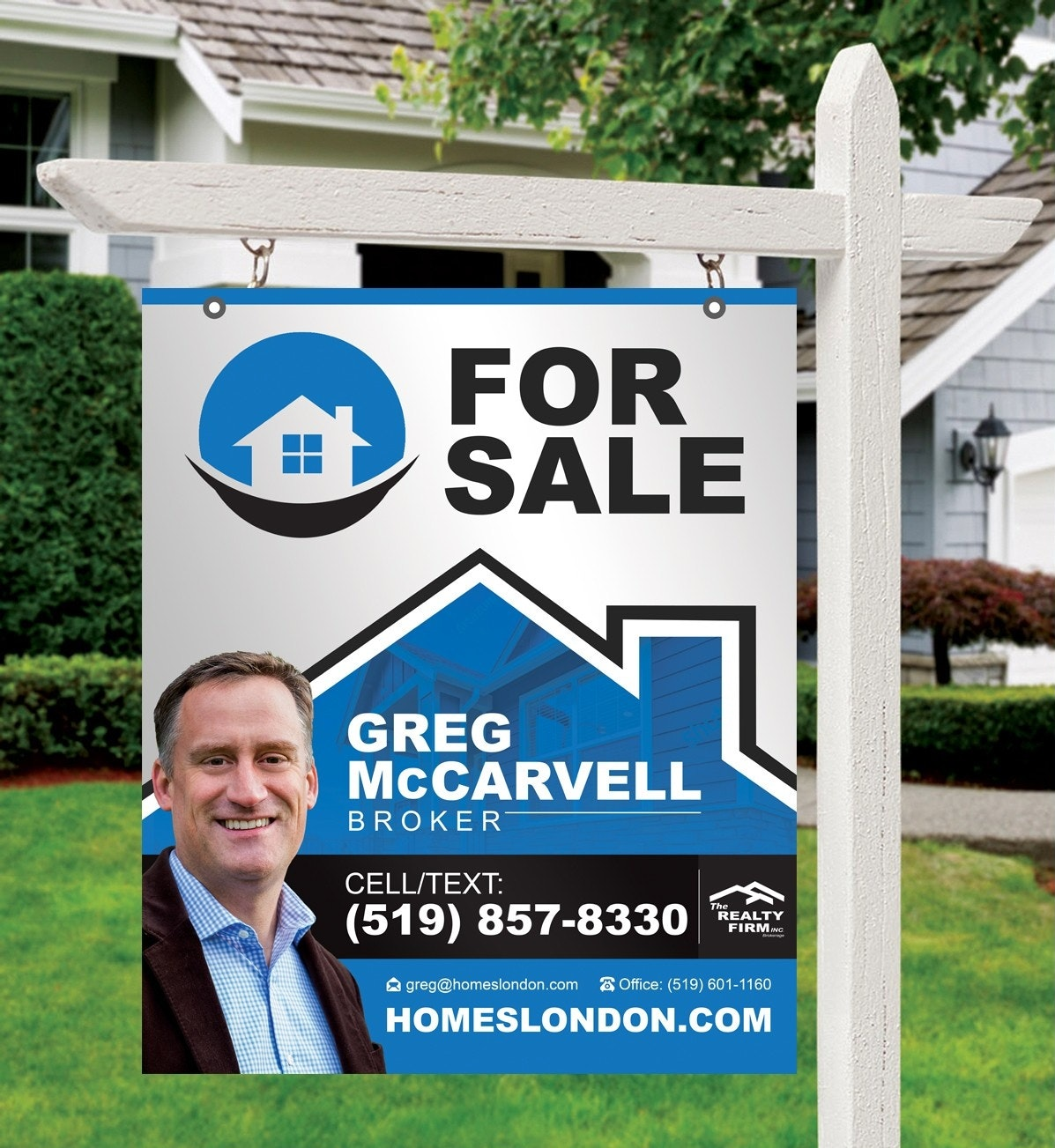 Real estate lawn sign for sale