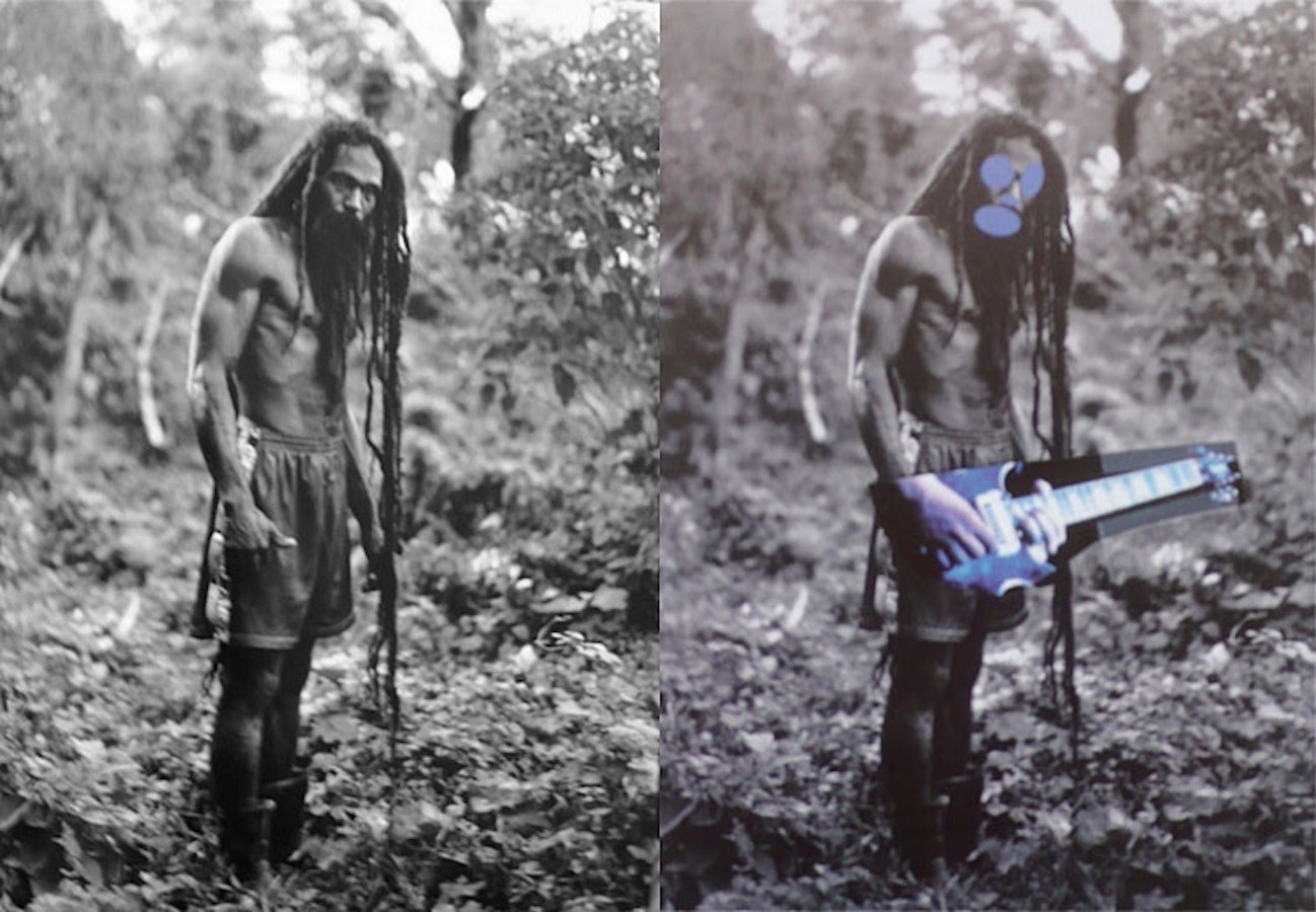 unedited photograph of a man in the wilderness on the left, altered photograph blocking the man's features and putting a guitar on his hands on the right