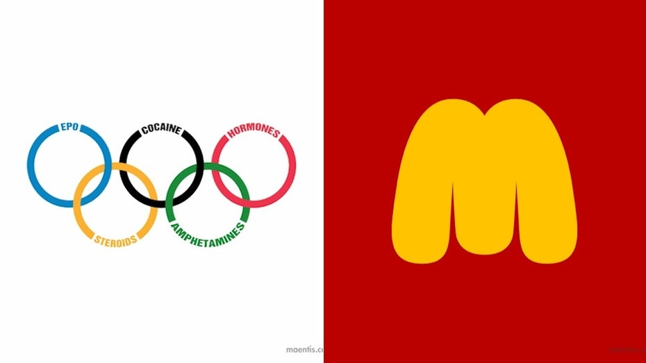 parody of the Olympics logo with drugs listed in each circle's perimeter and a parody of the McDonald's logo that's much thicker than the regular one