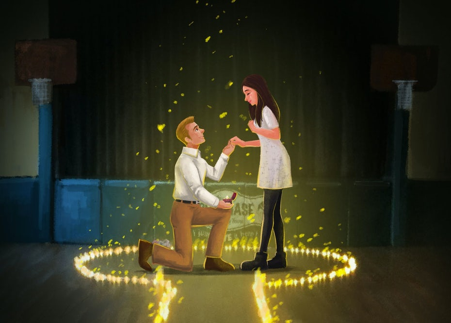 wedding proposal illustration