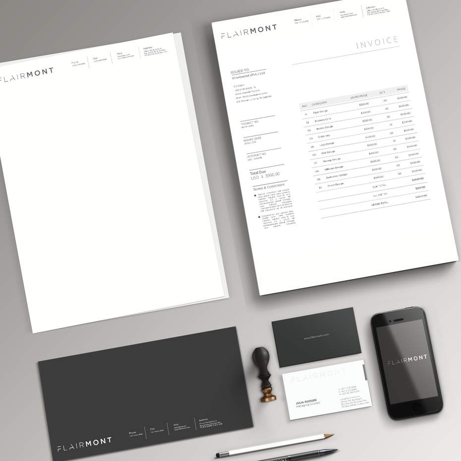 Invoice stationery design