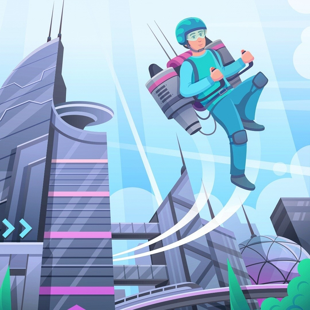 Game background illustration of a man using a jetpack