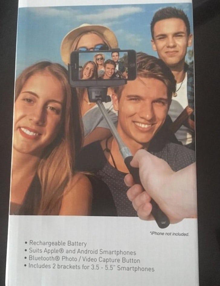 Selfie stick ad design fail