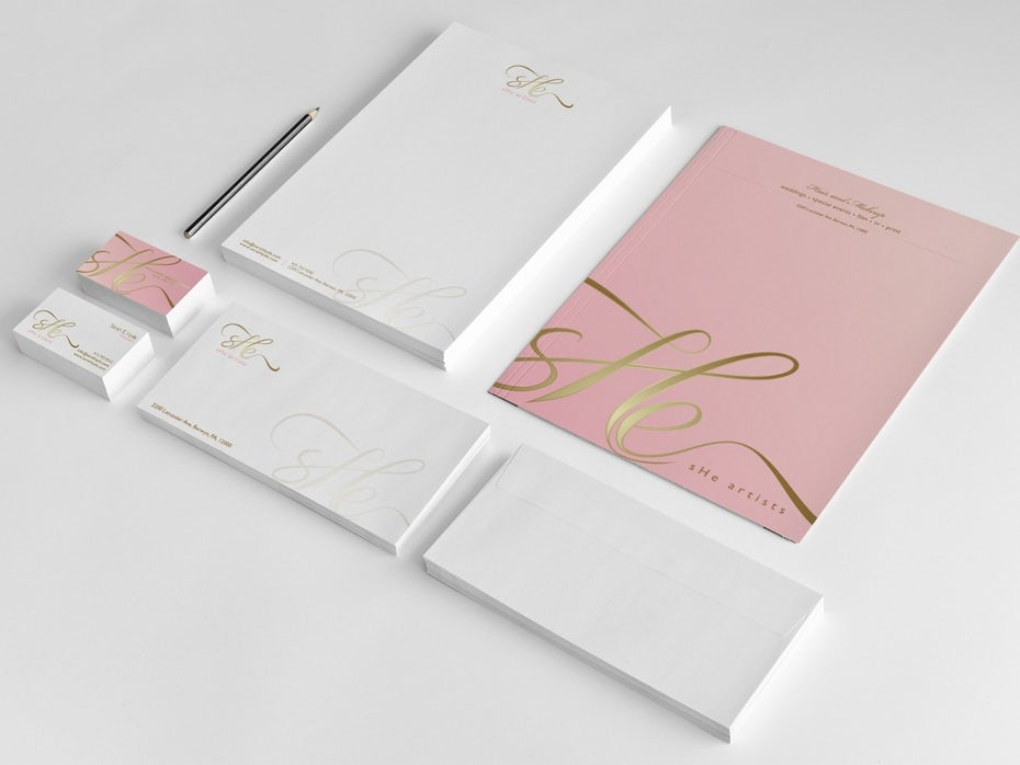 Stationery design featuring gold foil