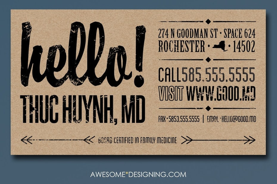 Custom type on business card