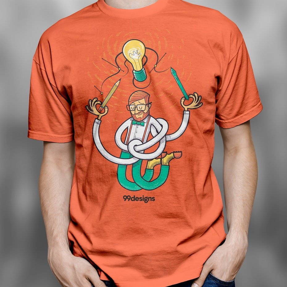 t-shirt showing a man with long, twisted limbs reaching over his head toward a lightbulb, a pencil in one hand and a pen in the other.