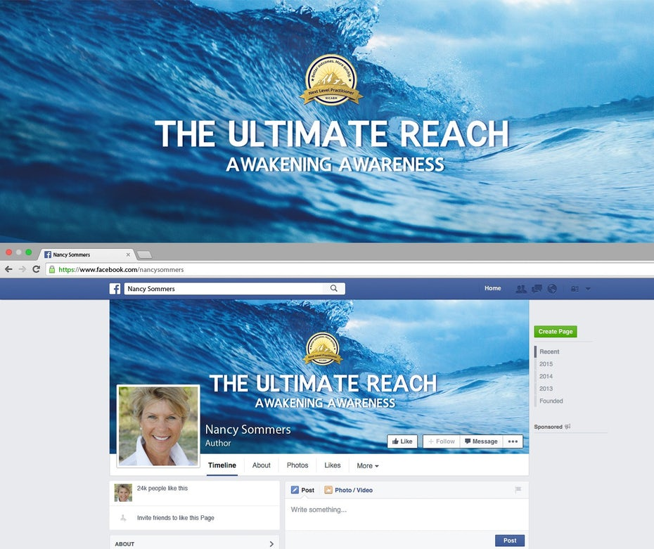 Facebook page design for The Ultimate Reach Awakening Awareness