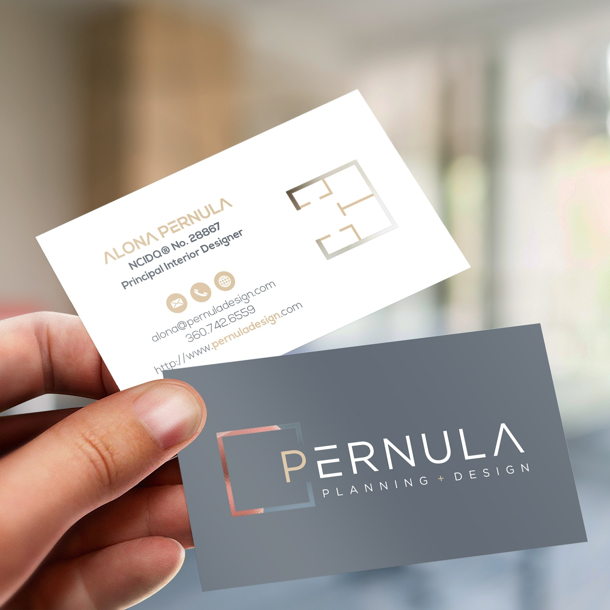 Business card with cut out logo
