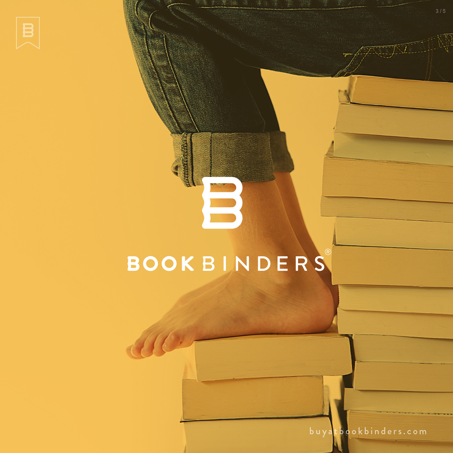 Bold logo in the shape of books
