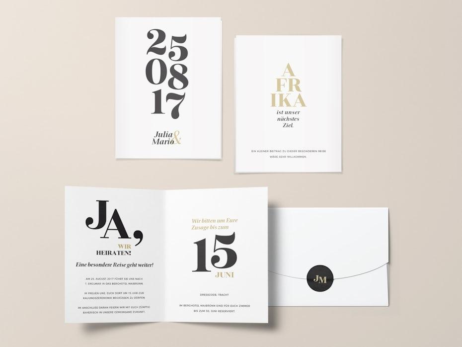A typographic wedding invitation