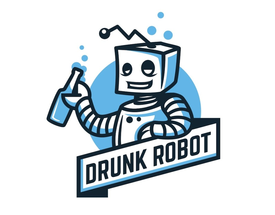 drunk robot with beer