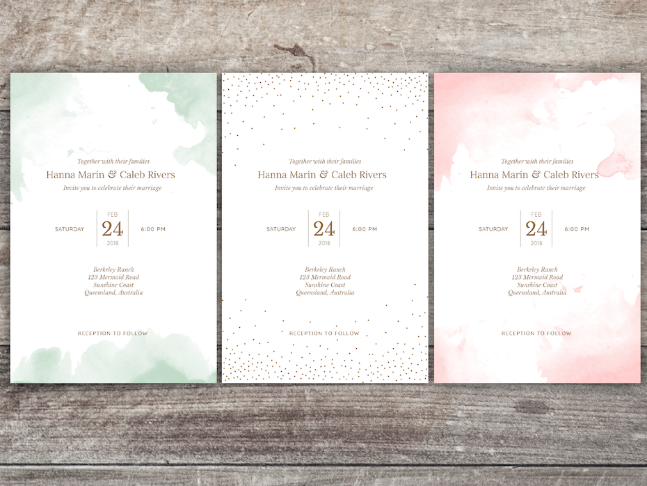 A watercolor wedding invitation