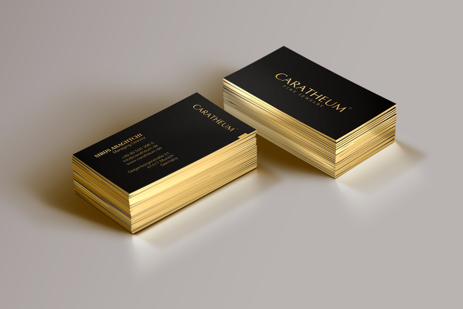 Business card with gold foil stamping and edge painting
