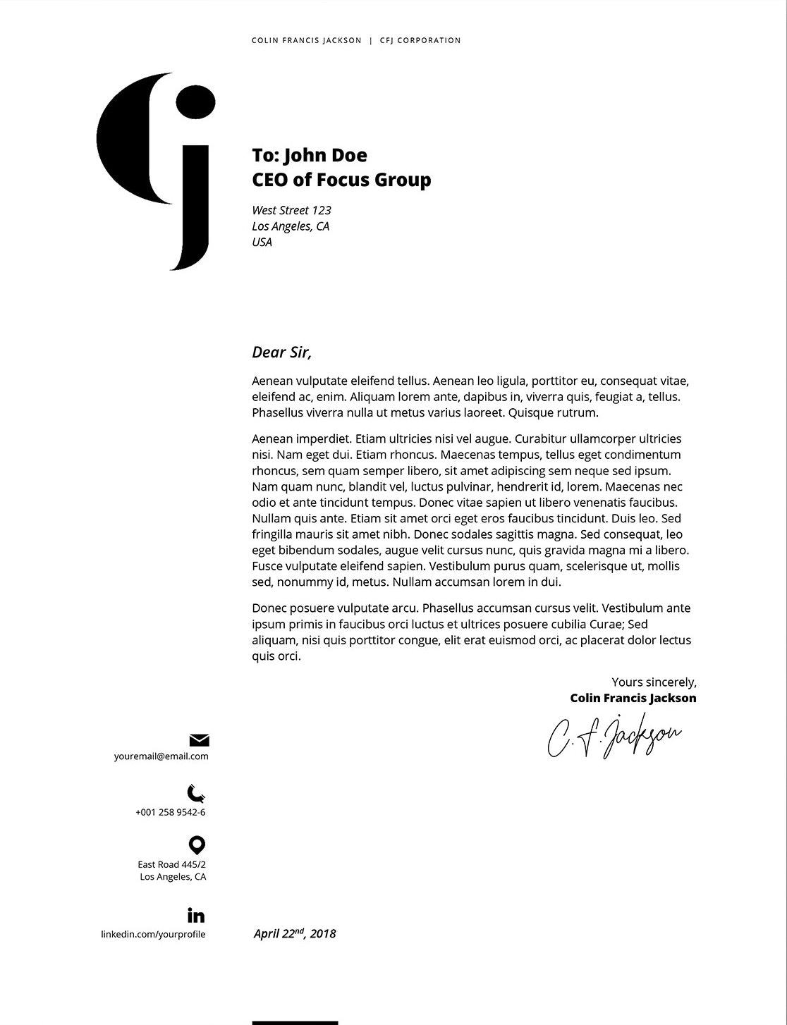Minimal letterhead design