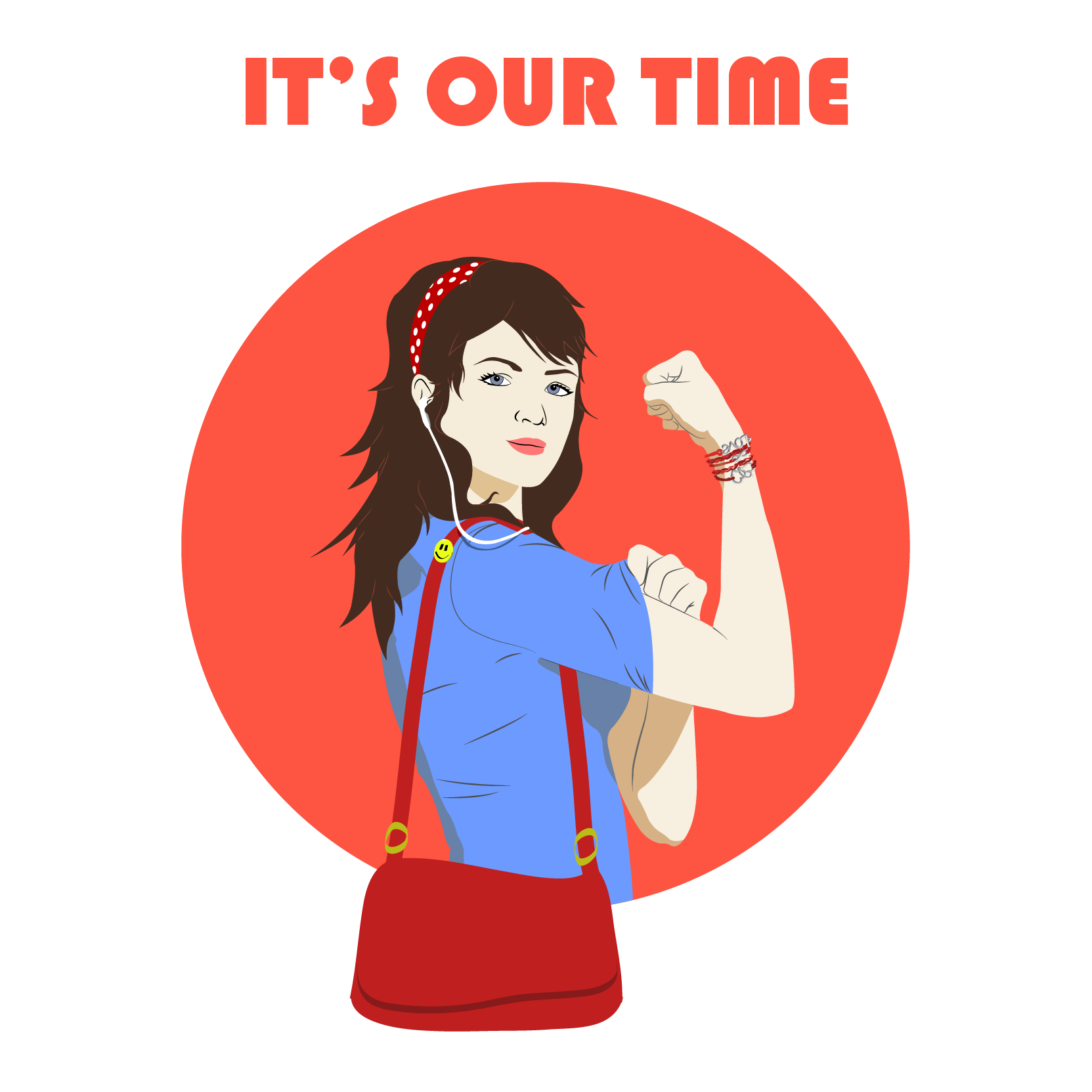 "illustration of a woman clutching her arm in an empowered way, with the text ""it's our time"" above her head"