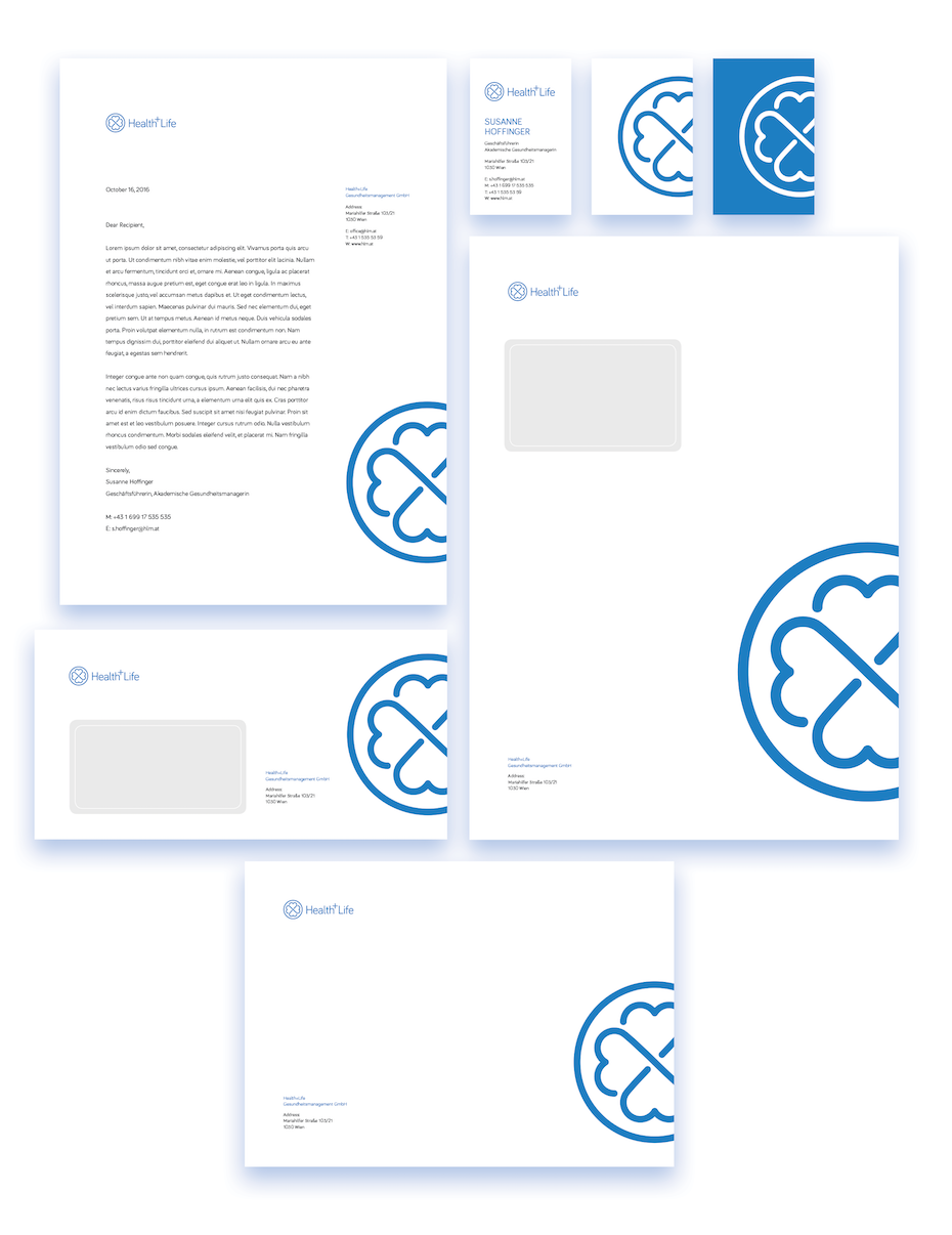 A full suite of branded stationery